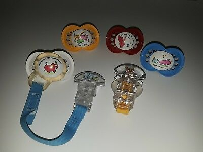 Carter's John Lennon Baby Collection Pacifiers and Clip Lot