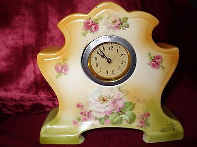 Antique Art Deco 1920s 30s porcelain china Mantle clock working order A/F