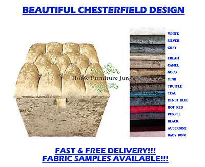 New Dressing Table Stool Crushed Velvet Chesterfield Cube Storage Box 15 Colours