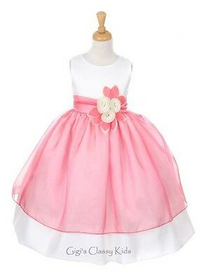 New Ivory & Coral Flower Girls Dress Easter Christmas Pageant Party Fancy 6319KK
