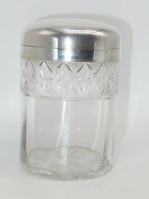 """Continental Old Glass Jar with Continental Sterling Lid Cut Glass Cylinder 6"""" H"""