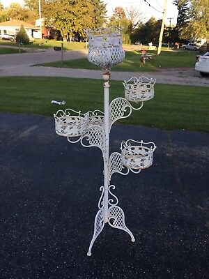Antique Ornate White Cast Iron Plant Stand (66) Inches Tall