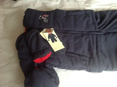 AVENUE BABY boys navy blue padded snowsuit jacket all in one AGE 2 - 3 YEARS