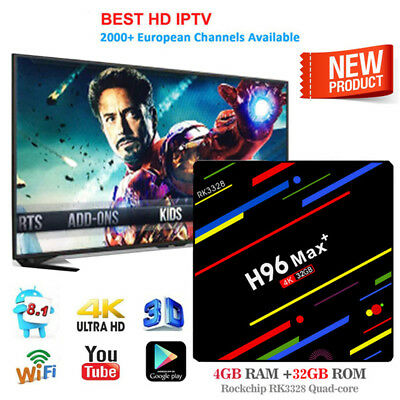 H96 Max Plus 4G+32G Android 8.1 Quad Core Smart TV BOX 4K Media Player Wifi EU