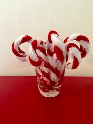 Retro vintage style Christmas red & white chenille mini candy cane ornaments