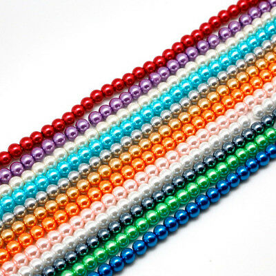 NEW 4/6/8/10/12/14mm Glass Round Pearl Spacer Loose Beads Jewelry Making