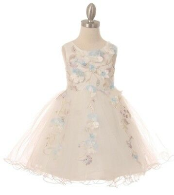White Flower Girl Pearl 3D Flowers Dress Wedding Pageant Christmas Party 9082