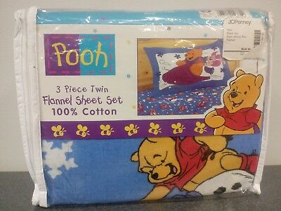 Disney Winnie the Pooh and Piglet Flannel 3 Piece Twin Sheet Set 100% Cotton