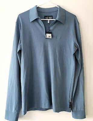 682ec9b91 Armani Jeans AJ Mens Light Blue Long Sleeve Zip Up Golf Polo Size Small NWT