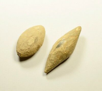 Ancient Greek Military Lead Sling Bullet Shot - LOT OF 2 / 74 grams