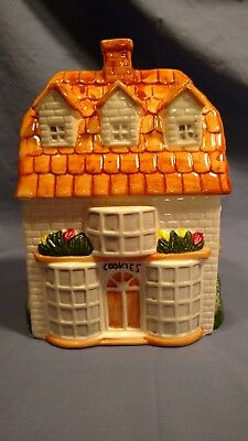 Cottage House Cookie Jar with Brown Roof Top, Colorful Flowers & Bushes