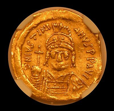 Byzantine Empire Gold Solidus - Justinian I, AD 527-565, NGC XF