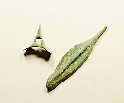 LOT OF 2 ANCIENT BRONZE CELTIC PRE COIN AGE PROTO MONEY - exchange before coins