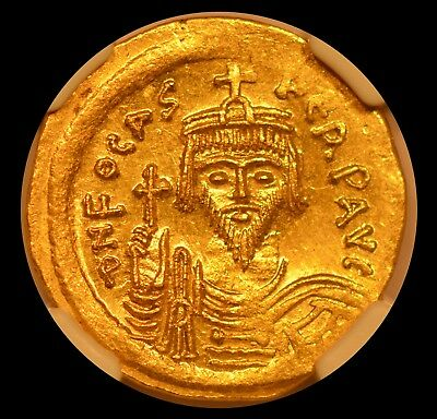 Byzantine Empire Gold Solidus - Phocas, AD 602-610, NGC MS