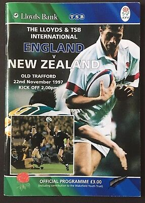 ENGLAND v NEW ZEALAND 1997 RUGBY PROGRAMME, OLD TRAFFORD, All Blacks Rugby