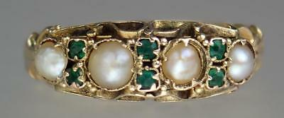 Lovely Antique Victorian 15K Gold Emerald Seed Pearl Scrolling Ring Sz 6.5 1874