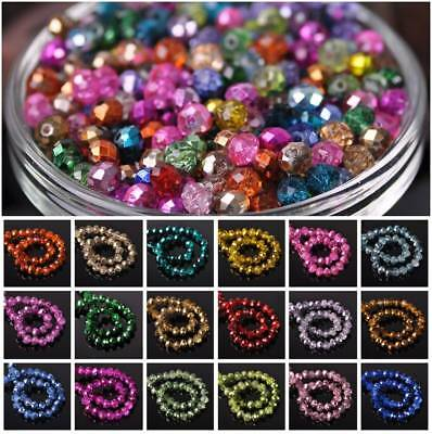 Wholesale 4mm 6mm 8mm 10mm Rondelle Faceted Crystal Glass Loose Beads Findings