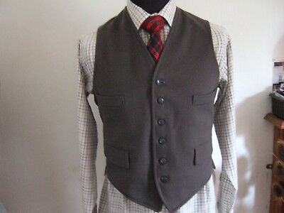 "Vintage Mens All Wool Doeskin Waistcoat, 36-37"" Chest, 6 Buttons. Grey, Vgc"