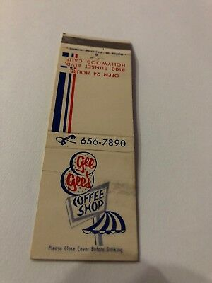 Vintage Matchbook Cover Gee Gee's Coffee Shop On Sunset Blvd Hollywood Calif