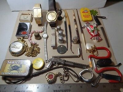 Lot of Vintage Junk Drawer Watches Lighters Miscellous Items