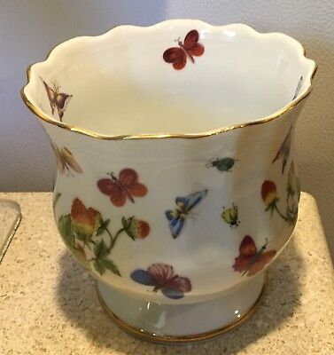 "Vintage Lenwile China hand painted 5"" bowl Ardalt Japan Butterfly Strawberry Bug"