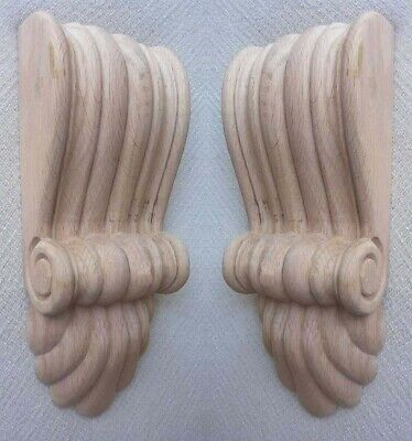 Two x Medium Sized, Solid Wood, Reeded Corbels with Fan in Pine, #650