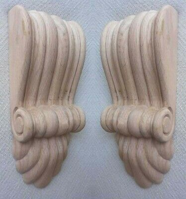 Wood Fireplace Corbels -Two Medium Sized Reeded Corbels with Fan in Pine, #650