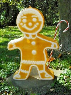 Vintage Christmas Blow Mold Ginger Bread Man with Candy Cane