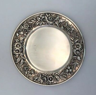 "S Kirk & Son Sterling Silver Repousse Pattern 6"" Dish Plate Tray Number 127F"