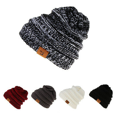 Womens Beanie Ponytail Hole Hair Bun Tail Soft Stretch Cable Knit Winter Hat