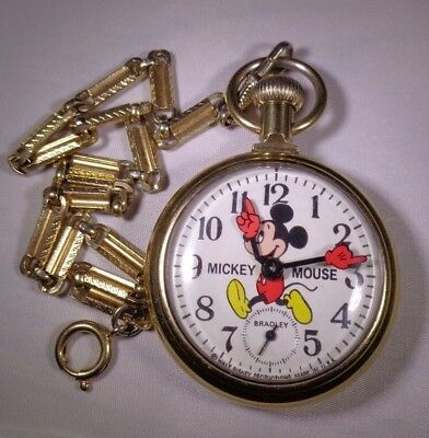 Vintage Bradley Mickey Mouse Character Pocket Watch Running