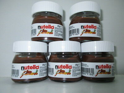 5 x 25g Ferrero NUTELLA mini glass jar collectable from ITALY New and rare
