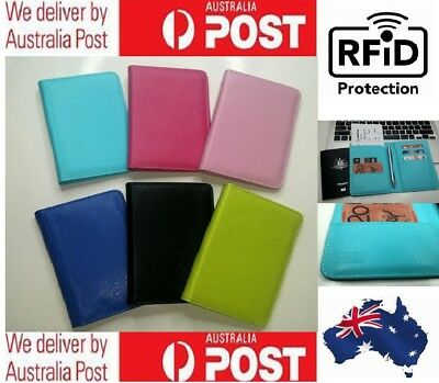 RFID Blocking Anti Scan Leather Travel Wallet Passport Credit Cards Holder