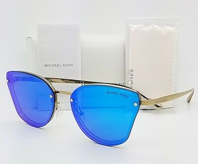 New Michael Kors sunglasses MK2068 330325 Gold Blue Sanibel Round Cat Clubmaster