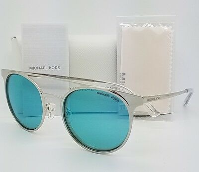 478ff1cc80bef New Michael Kors Grayton sunglasses MK1030 113725 Chrome Teal Round GENUINE  blue