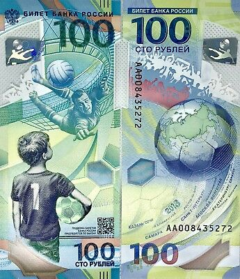 2018 FIFA World Cup Russia 100 Roubles Limited Edition Banknote Polymer AA UNC