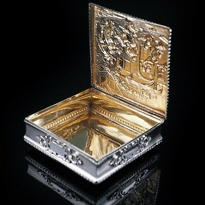 LARGE Sterling Silver Table Snuff Box - Repousse with Gold Gilt Interior