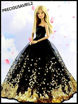 Brand new Barbie doll clothes outfit princess wedding dress black sequin dress.