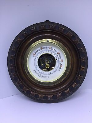 Circular carved Wood Aneroid Barometer Antique European Barometer
