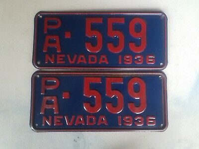 1936 Pair Nevada License paltes VG condtion