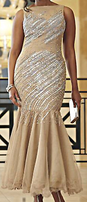Ashro Gold Rhinestone Embellished Beaded  Formal Party Diana Gown Golden 24W