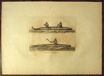 "Canoes of Oonalashka. By John Webber, 1784 ""Voyage to the Pacific.."" Antique"