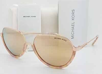 New Michael Kors Austin sunglasses MK1031 10275A Gold Coral Pink Mirror GENUINE