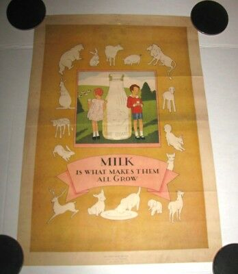 RARE 1920's BALTIMORE DAIRY COUNCIL MILK IS WHAT MAKES THEM ALL GROW POSTER