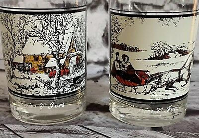 Arby's Currier and Ives Glasses Set of 2 The Road to Winter and Frozen Up 1978