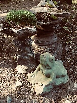 Large Antique Cement Green Frog Statue Secret Garden Decor Frog Pond Spout