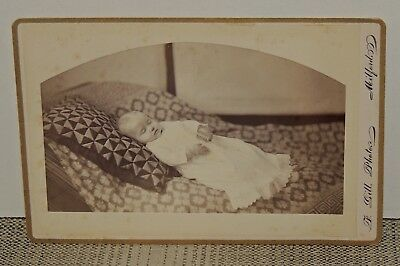 Antique Post Mortem Cabinet Card Photo of a Baby, by F. Gill of Milford, Mass.