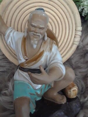 "Vintage 8"" Asian Mudman Figurine Statue Fisherman w/ Pole & Bamboo Stand #310"