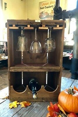 Vintage Wine Rack Repurposed Cranberry Box/Crate New England Wooden Cape Cod