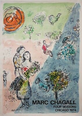 Marc Chagall Limited Edition Four Seasons Chicago Exhibition Lithograph-Mourlot
